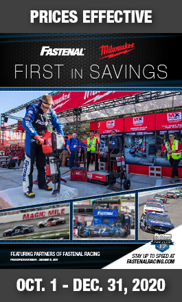 Fastenal Racing. Milwaukee. First In Savings Promotion. Prices Effective October 1 - December 31, 2020