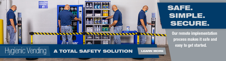 Safe. Simple. Secure. Our remote implementation process makes it safe and easy to get started. Hygenic Vending. A total safety solution. Learn more.